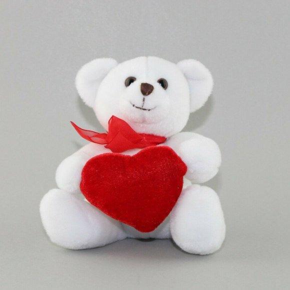 Anico Int'l, Inc Plush White Teddy Bear Red Heart